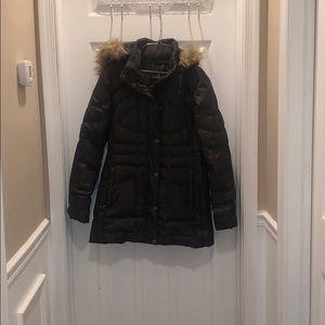 Brown coat with fur hood